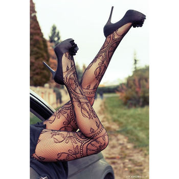 New Women Sexy Hot Lace Jacquard Lingerie Thigh High Long Stockings Tights Thin Pantyhose Lace Floral Hosiery
