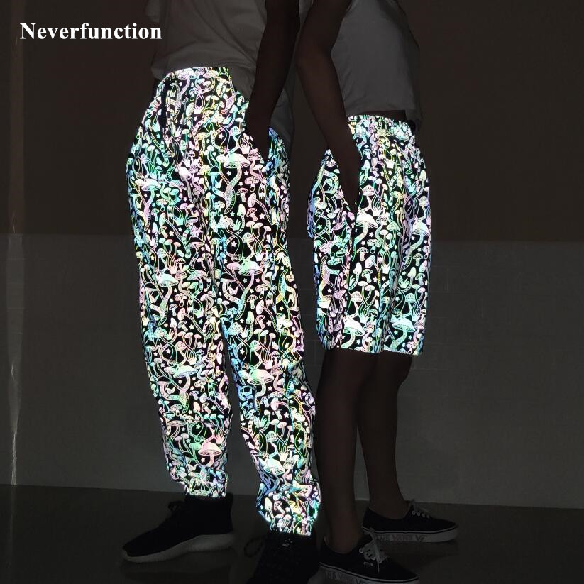 Men Harajuku Night Colorful Reflective Mushroom Printed Casual Pants Streetwear Man  Hip Hop Elastic Waist  Joggers Sweatpants