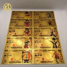 Quente 1pc japão dragão dos desenhos animados 10000 yen ouro nota plástica para a coleção clássica da memória da infância