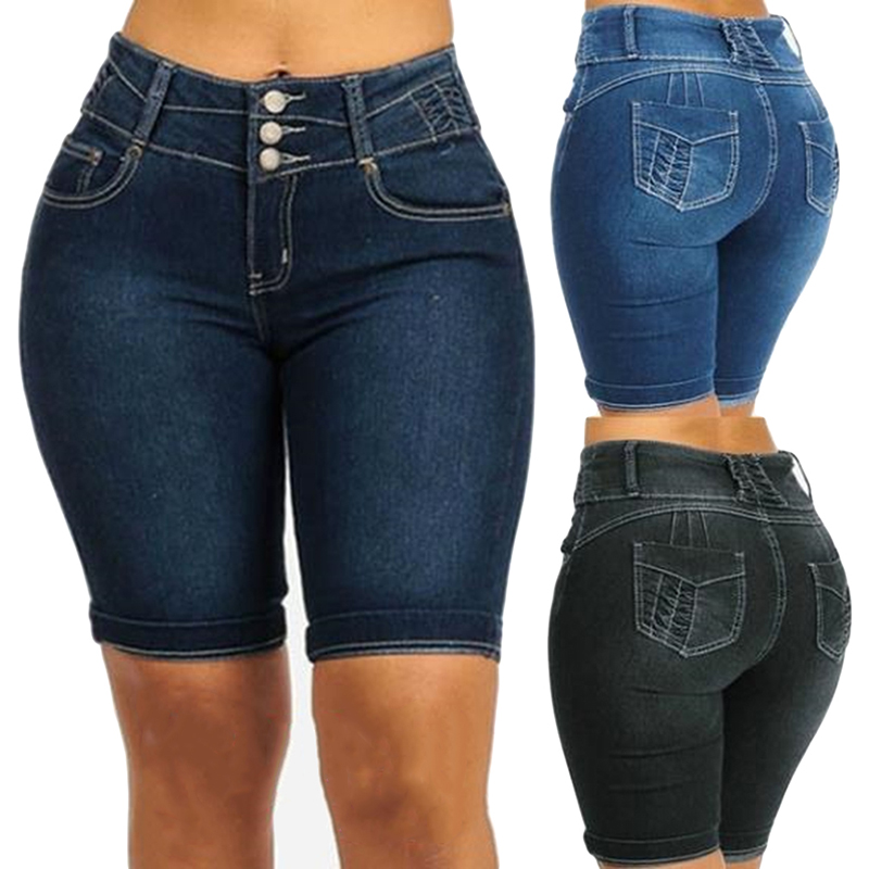 GAOKE Knee Length Denim Shorts Women Push Up Elastic High Waist Biker Shorts Jean Shorts Women Summer 2020 Black Streetwear