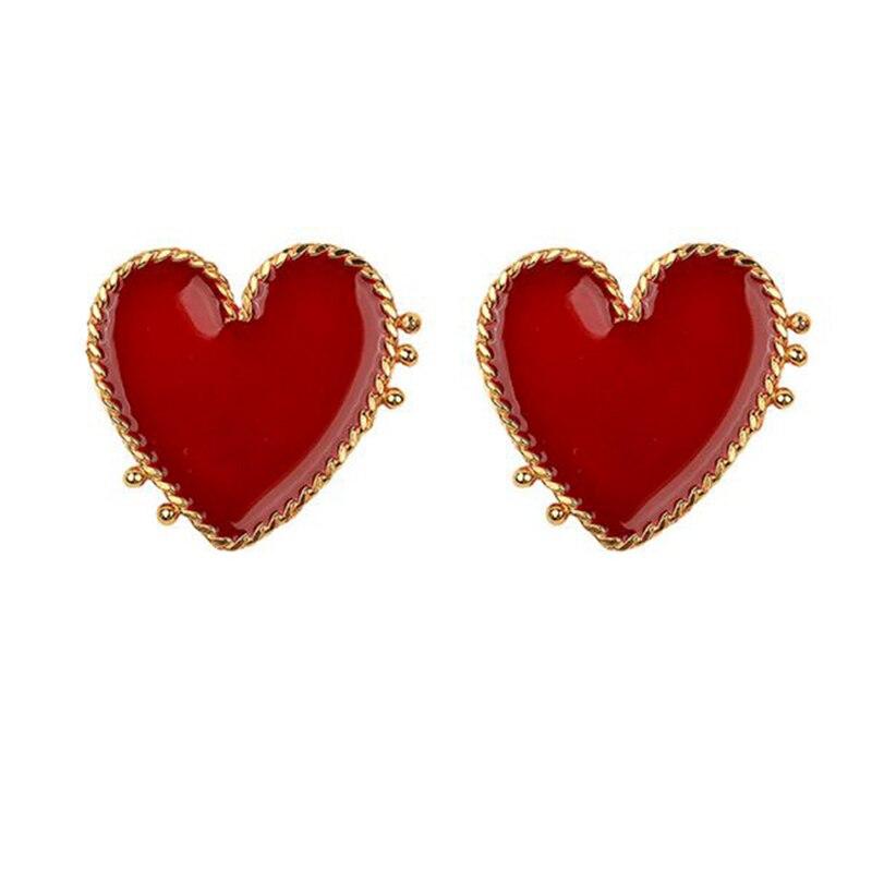 1 Pair Street Style Hyperbole Big Red Heart Stud Earrings For Women Gold Love Heart Stud Earrings Bohemian Jewelry New Fashion