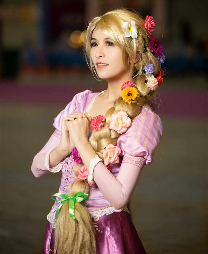 Halloween Women Princess Tangled Rapunzel Cosplay Wig Blonde Braid Hair Role Play Long Golden Braided Hair With Flowers Movie Tv Costumes Aliexpress