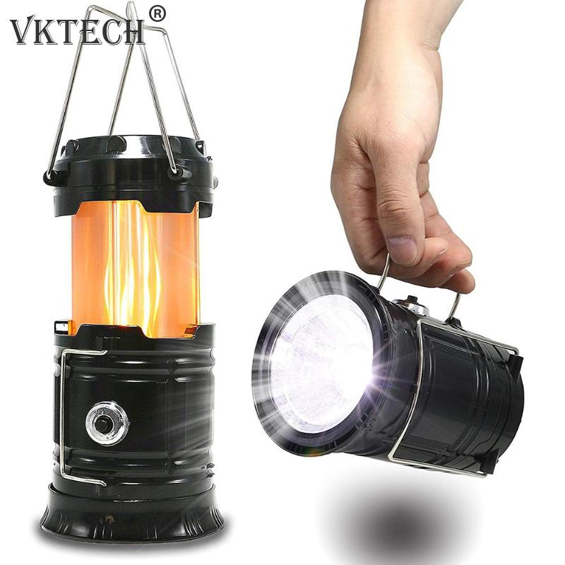 Portable Retractable Camping Tent Light Flame Lamp Lantern Flashlight Solar Powered Rechargeable LED Camping Light