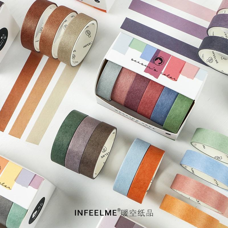 6pcs/lot Vintage Salty Morandi Washi Tape Set Colored Masking Tape Pack Decorative Thin Tapes Children And Gifts Warpping(China)