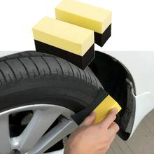 2Pcs Car tire cleaning brush Manual car wash tools fitted latex sponge wipe Yellow black double-sided cleaning brush