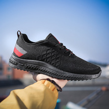 Men Running Shoes Outdoor Breathable Male Sneakers Non-slip Lace-up Trainers Mesh Black Athletic Walking Shoes Big Size 39-44