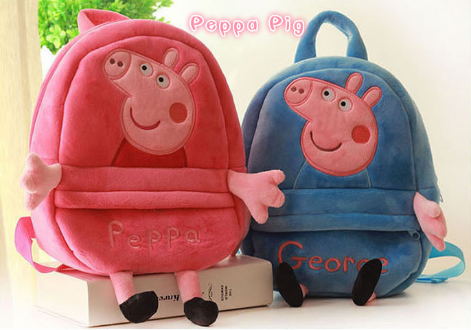 Genuine Peppa Pig Plush Backpack Toy Bag Cartoon Kids Mini School Children's Action Figures Gifts Boy Girl Baby Bags