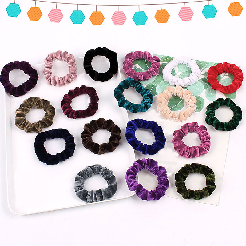 Small Size Solid Color Lady Velvet Hair Scrunchies Hairband Ponytail Elastic Rubber Bands Hair Accessories Hair Ring Rope