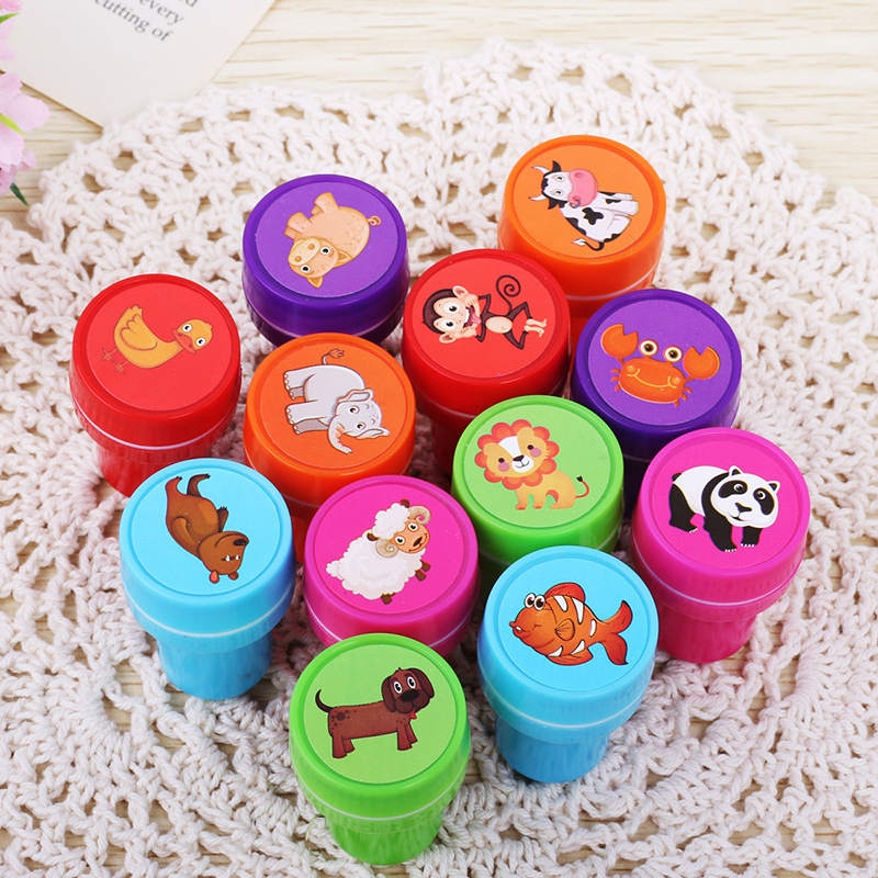 12pcs/Box DIY Scrapbook Photo Album Decor Children Toy Rubber Stamps Cartoon Fruits Kids Seal Stamper High Quality Simple