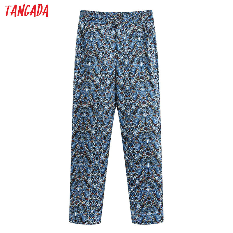 Tangada Fashion Women Floral Print Suit Pants Trousers Vintage Style Pockets Buttons Office Lady Pants Pantalon BE258