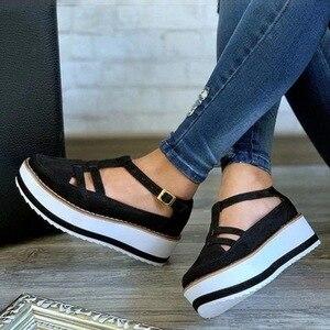 New Women Sandals Buckle Strap Flock Summer Shoes Chaussures Femme Flat Platform Sandalias Plus Size Shoes 2020 Fashion