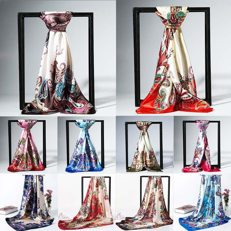 Large Size <font><b>90</b></font> * 90cm Printed Imitation Silk Fashion Soft And Comfortable Satin Shawl Scarf 1PC12 Kinds Of Colors image