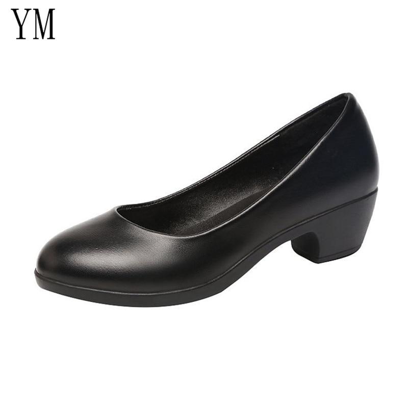 2019 Basic Women Pumps Shoes Slip-On Shallow Wedding Party Chcky Heels Round Toe Woman High Heels Pumps Women Dress Shoes