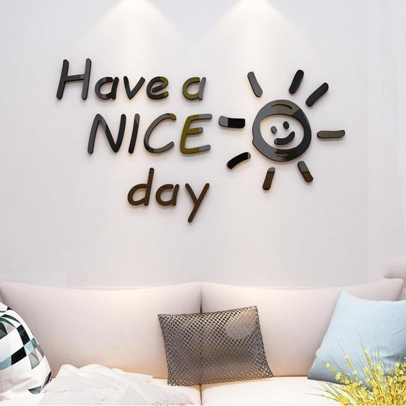 3D Mirror Sticker Large Smile Sun Wall Decal Have a NICE day Mirror Wall Stickers for Kids Room Living Room Home Decoration