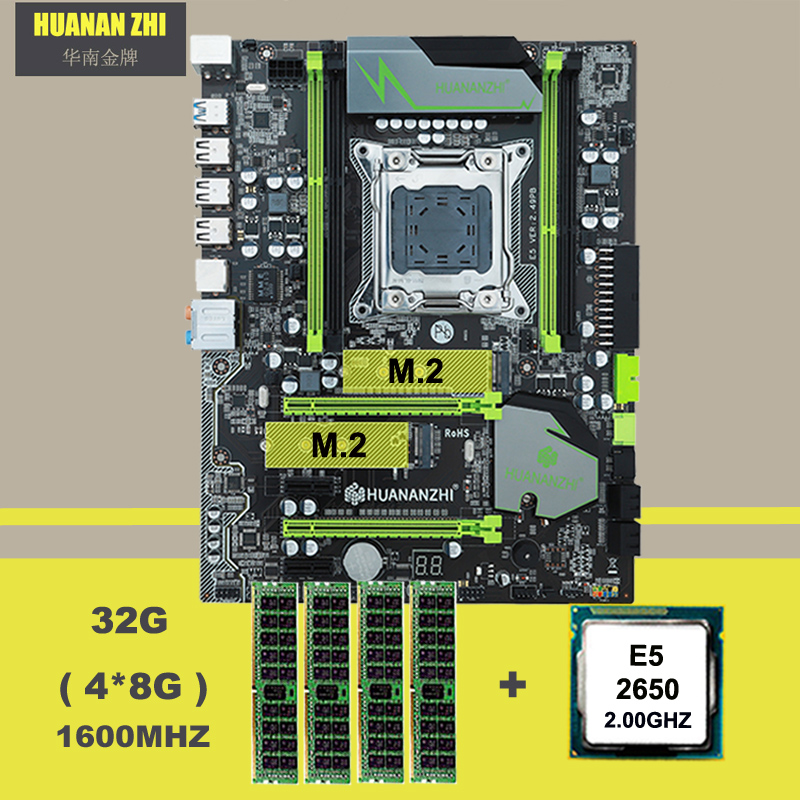 Comprar marca motherboard HUANAN ZHI X79 ATX motherboard com M.2 E5 2650 C2 slot de CPU Intel Xeon 2.0GHz RAM 32G (4*8G) 1600 ECC REG