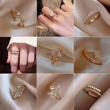 Ins maré ajustável anéis de aço inoxidável para as mulheres temperamento simples noivado anéis de casamento moda jóias por atacado 2020