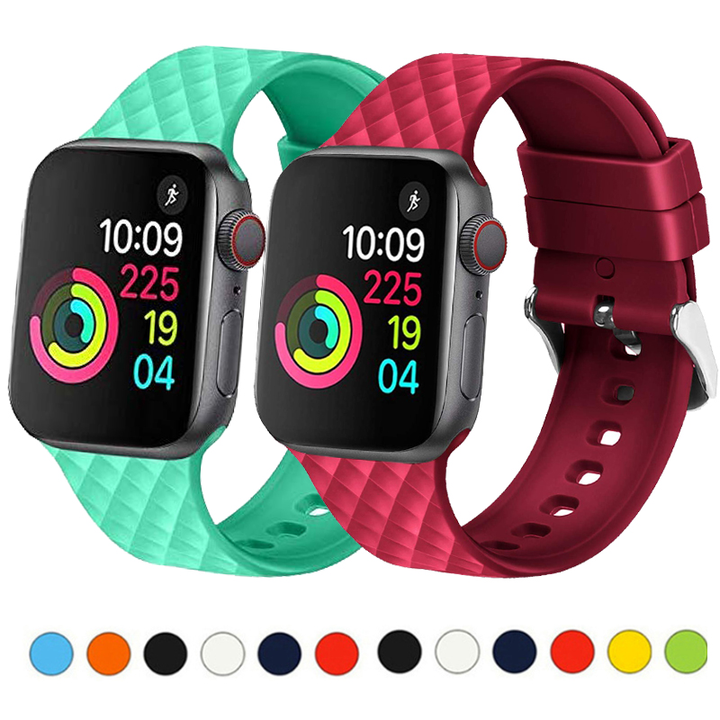 Sport Silicone Band For Apple Watch Strap 44mm 40mm Iwatch Band 42mm 38mm Watchband Bracelet Apple Watch 5 4 3 2 Diamond Pattern