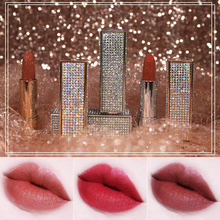ZHENDUO 6 colors Lip Makeup Silk satin sparkle matte lipstick star diamond shine red  stick moisture long-lasting