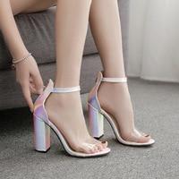 snakeskin Plastic Sandal Comfort Shoes For Women Beige Heeled Sandals Buckle Strap 2019 Summer Women's Heels Open Toe Large