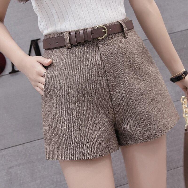 A-line Winter Shorts Women Outerwear Wide Leg Slim Korean Woolen Women Shorts Belted High Waist Warm Shorts Plus Size Short Pant