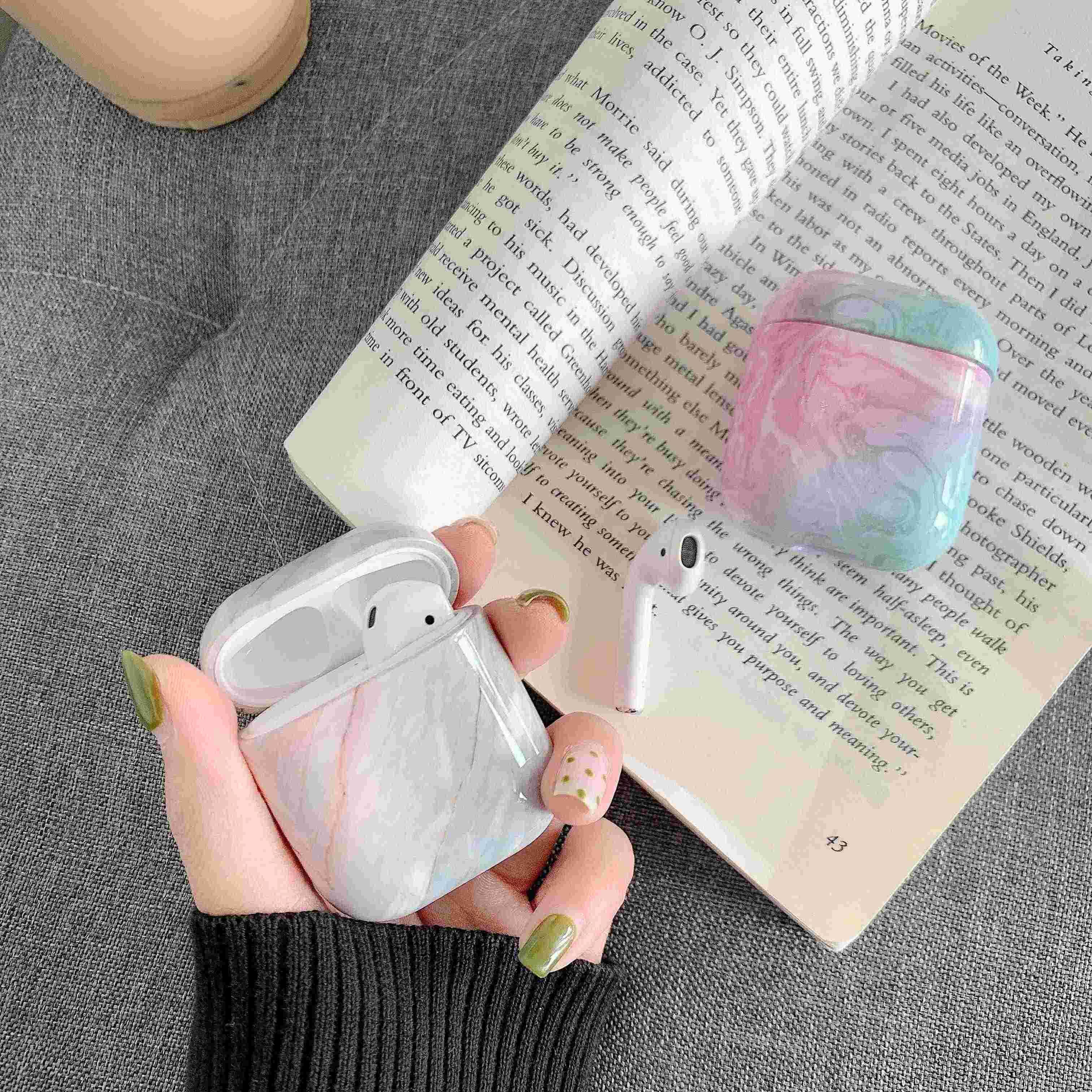 ハード PC プラスチックヘッドホン充電ボックス Apple Airpods 大理石 Bluetooth ワイヤレスイヤホンケース Airpods2 用 1 ケース