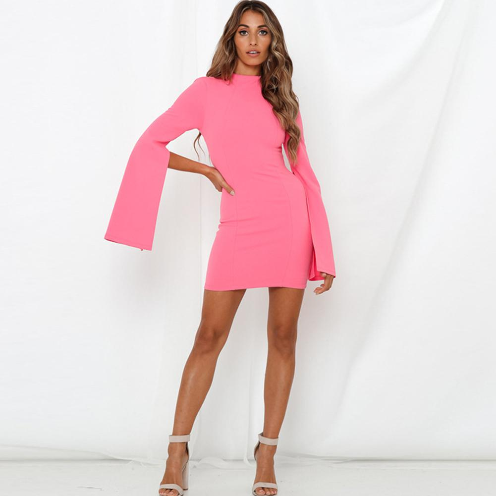 2019 New Yfashion Women Slim Round Collar Backless Split Dress in Dresses from Women 39 s Clothing