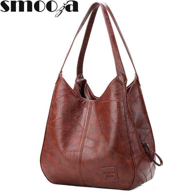 SMOOZA Vintage Womens Hand bags Designers Luxury Handbags Women Shoulder Bags Female Top-handle Bags Fashion Brand Handbags(China)