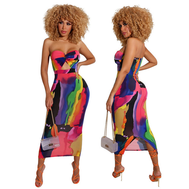 Sexy Printed Strapless Long Dress Women Summer Sleeveless Neon Tie-Dye Outfit Sundress Club Night Party Bodycon stretchy Dresses 1