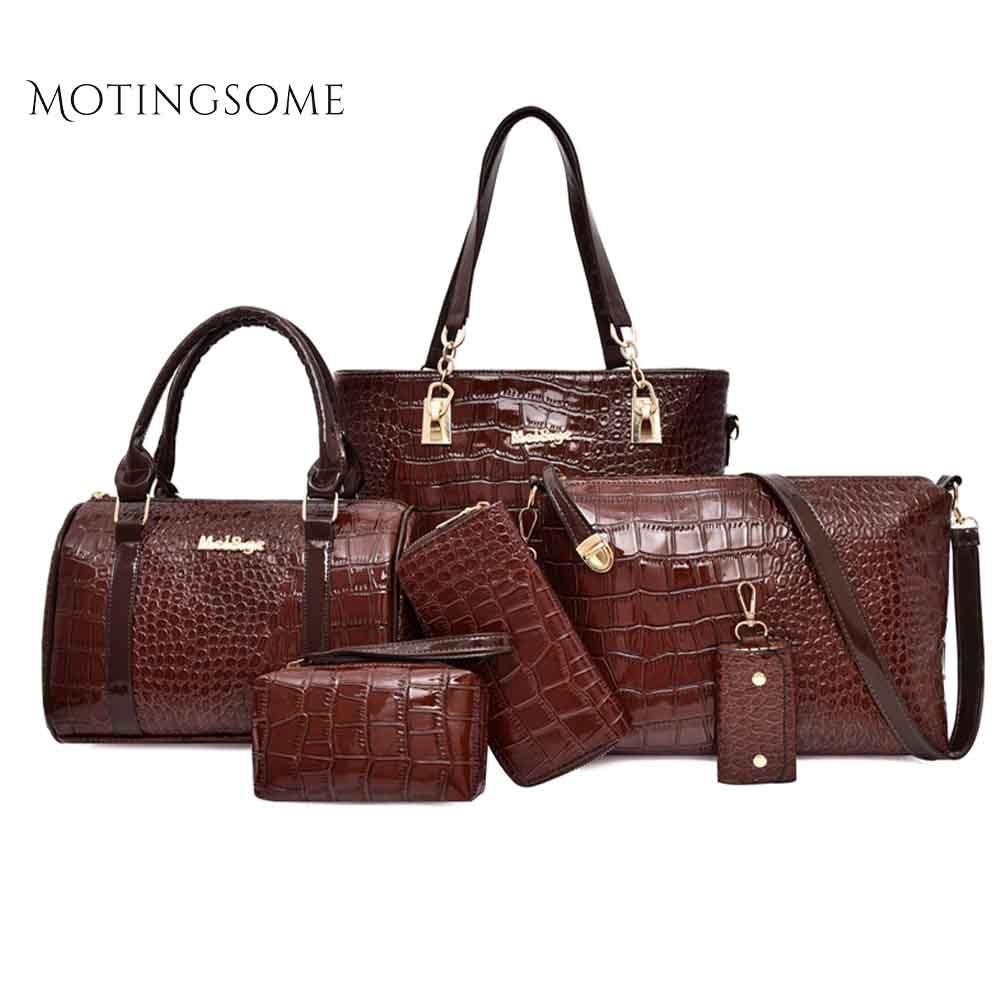 Crocodile Tote Handbag 1set/6pcs Women Composite Bag Luxury Leather Shoulder Large Shopper Bag Purse And Handbag Red 2019 New