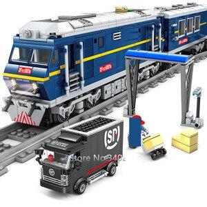 Image 3 - Grande cargaison de Train ferroviaire Diesel à moteur de Train avec des voies modèle blocs de construction de ville définit des briques de Brinquedos techniques jouets pour enfants