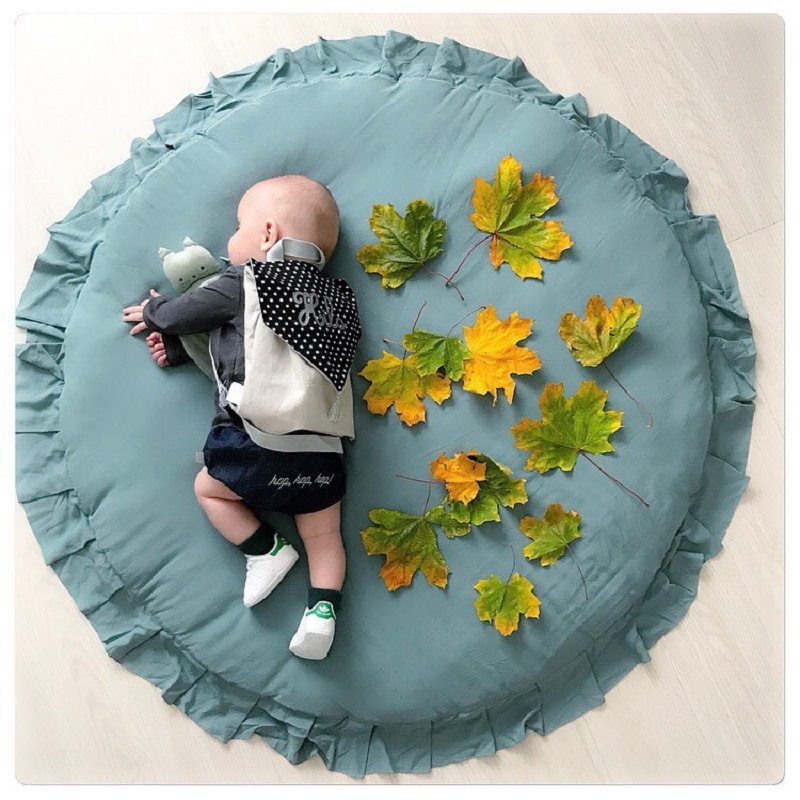 Newborn Baby Padded Play Mats Soft Cotton Crawling Mat Girls Game Rugs Round Floor Carpet For Kids Interior Room Decor