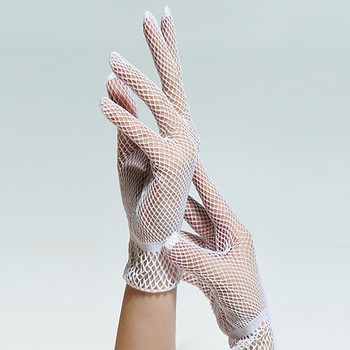 Elegant Lace Gloves Women Fishnet Mesh Elastic Transparent Bowknot Gloves Party Weddings Hollow Out Slim Aesthetic Gloves#p7 image