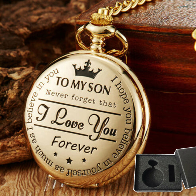 Vintage Round Dial Quartz Small Pocket Watch Numeral  Classical Roman Display With Gift Box  Man Woman To My Son Gift  A66