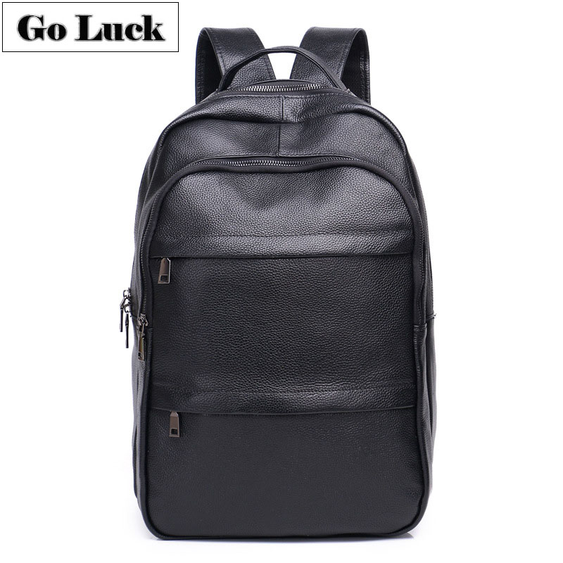 GO-LUCK Brand New Black Genuine Leather Business 15' Computer Laptop Backpack Men's Casual Travel Daypack School Bag Pack