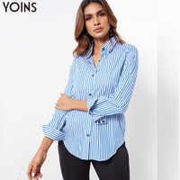 YOINS Frauen Streifen Drehen-unten Kragen Asymmetrische Tasche Langarm Bluse 2019 Weibliche Elegante Shirts Beiläufige Lose Tops Blusas