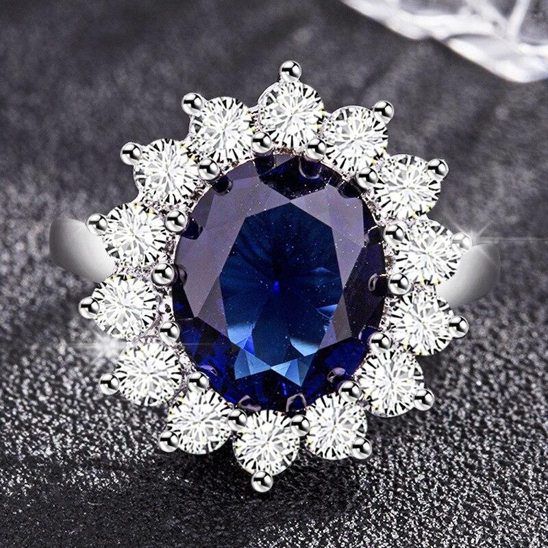 Целлюлозное модное круглое сапфировое кольцо для женщин серебро 925 ювелирное изделие с драгоценным камнем Подсолнух принцесса юбилей женс...