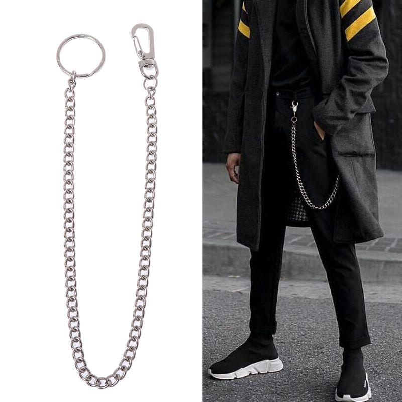 Hip Hop Pants Chain Secure Travel Wallet Chain Heavy Duty Jeans Link Coil Leash Belt Chain Rock Punk Trousers Hipster Pant Jean