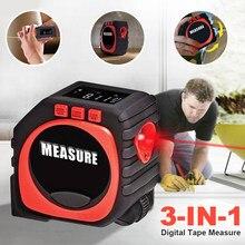 Cinta métrica Digital 3 en 1, cinta de medición más rápida y precisa, modo de cadena, multifunción, Nivel láser de línea