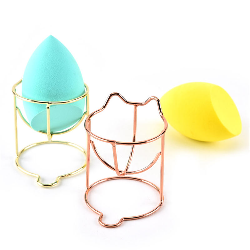 Cute Metal Makeup Puff Rack Mini Drying Hanger Beauty Cosmetic Powder Puff Blender Home Storage Rack Sponge Drying Stand Holder