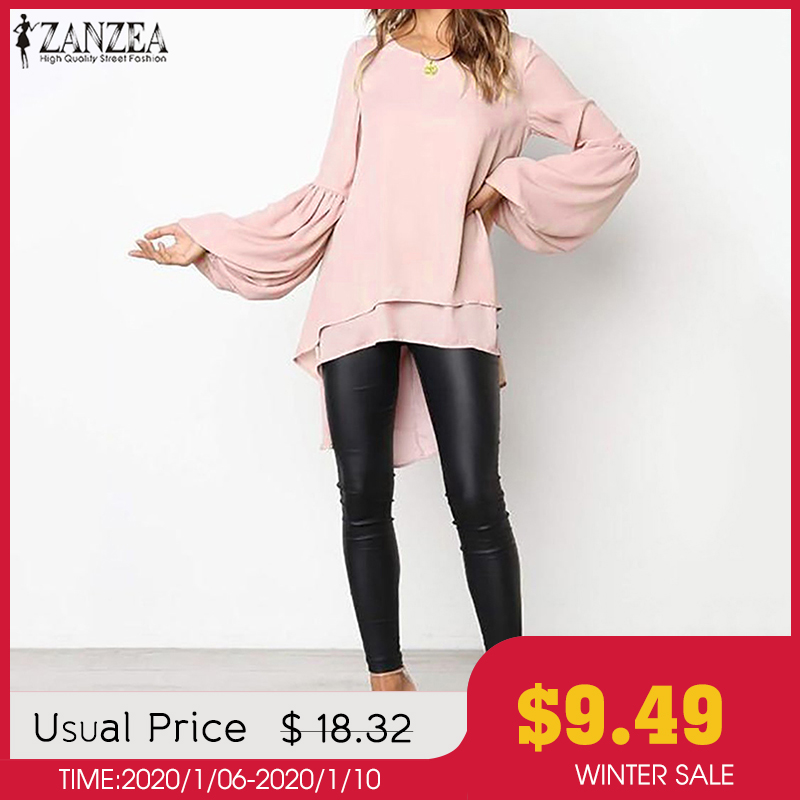 Fashion Women's Asymmetrical Blouse 2019 ZANZEA Elegant Puff Sleeve Tops Layered Blusas Female Solid Blusas Plus Size Tunic Tops