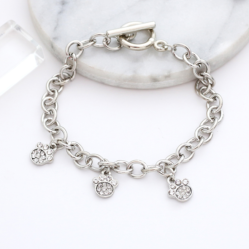 New Charm Cat <font><b>Dog</b></font> <font><b>Paw</b></font> Pendant <font><b>Bracelets</b></font> For Women Girls Pet Lovers Crystal Puppy Claws Metal Bangles Female Jewelry Gifts image