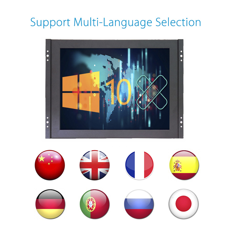 Open Frame 12 inch 1024x768 HD 4:3 Metal Shell HDMI VGA USB Industrial Four-wire Resistive Touch Monitor LCD Screen Display