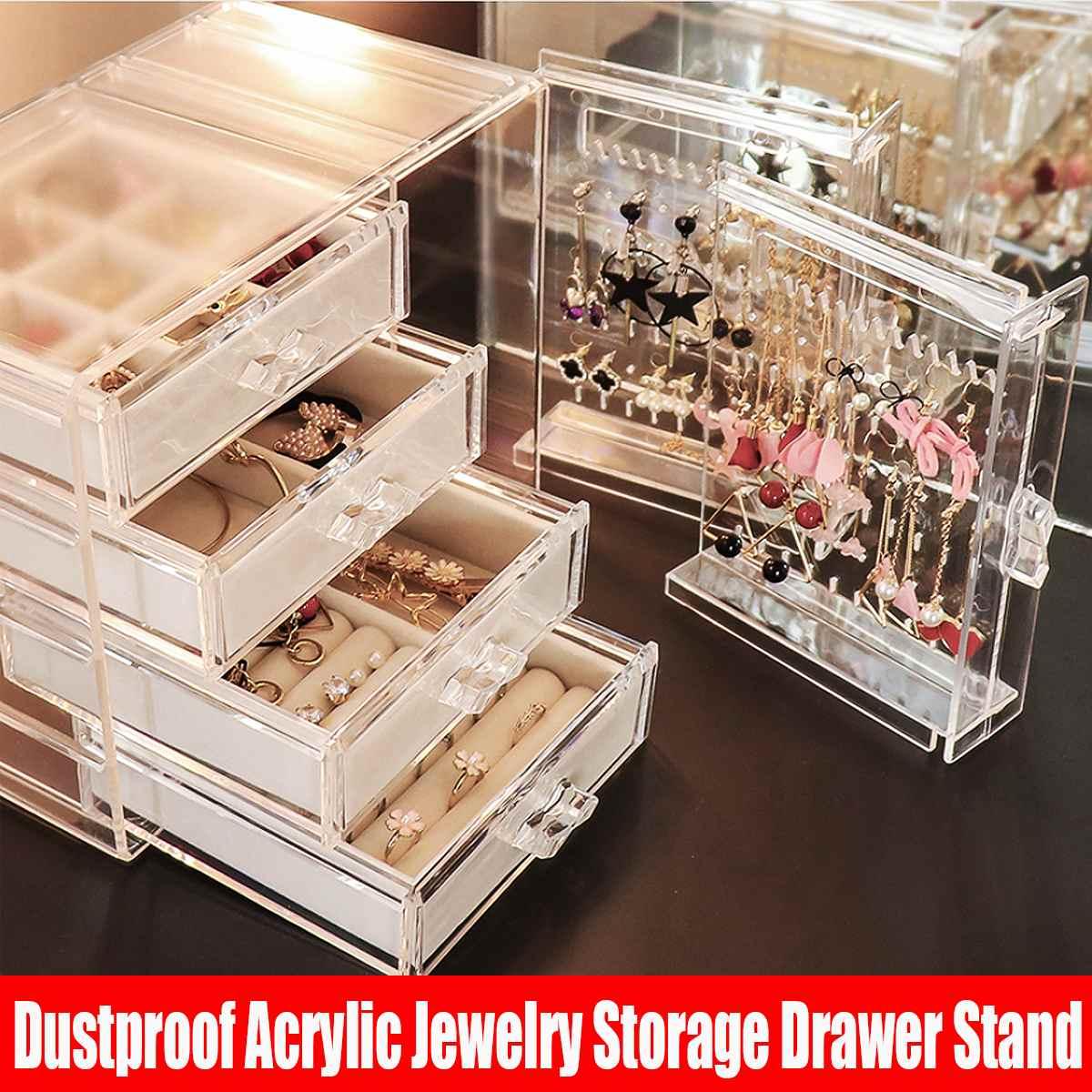 Dustproof Acrylic Jewelry Storage Box Drawer Earrings Display Insert Rack Ring Tray Necklace Bracelet Organizer Case 3 Types Jewelry Packaging Display Aliexpress