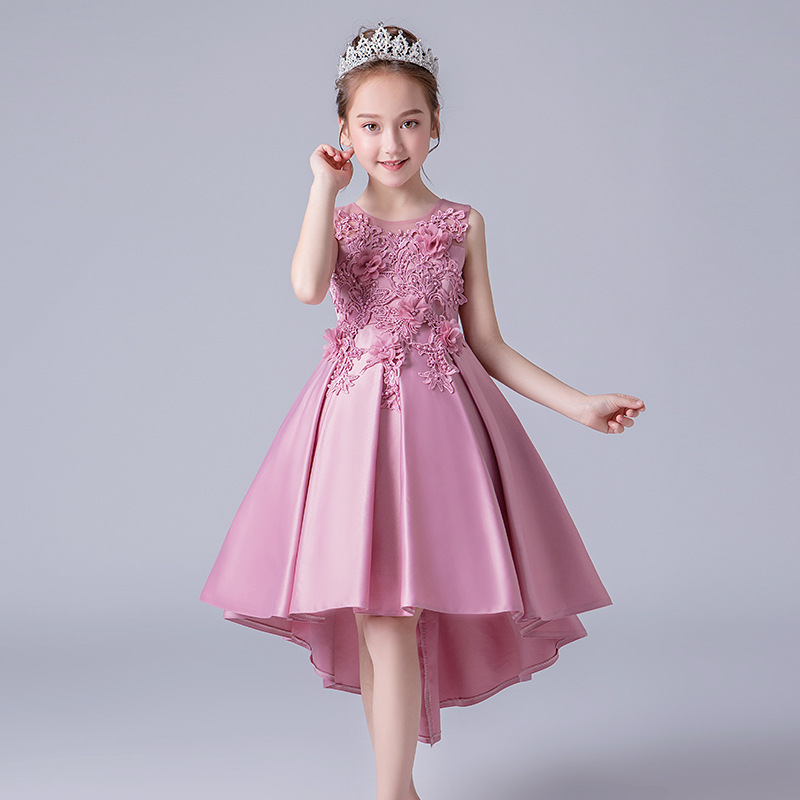 Girls Trailing Dress 2019 Flower Kids sleeveless Princess Dresses For Girl Party Wedding Dress children clothing 4 <font><b>5</b></font> 8 10 12Year image