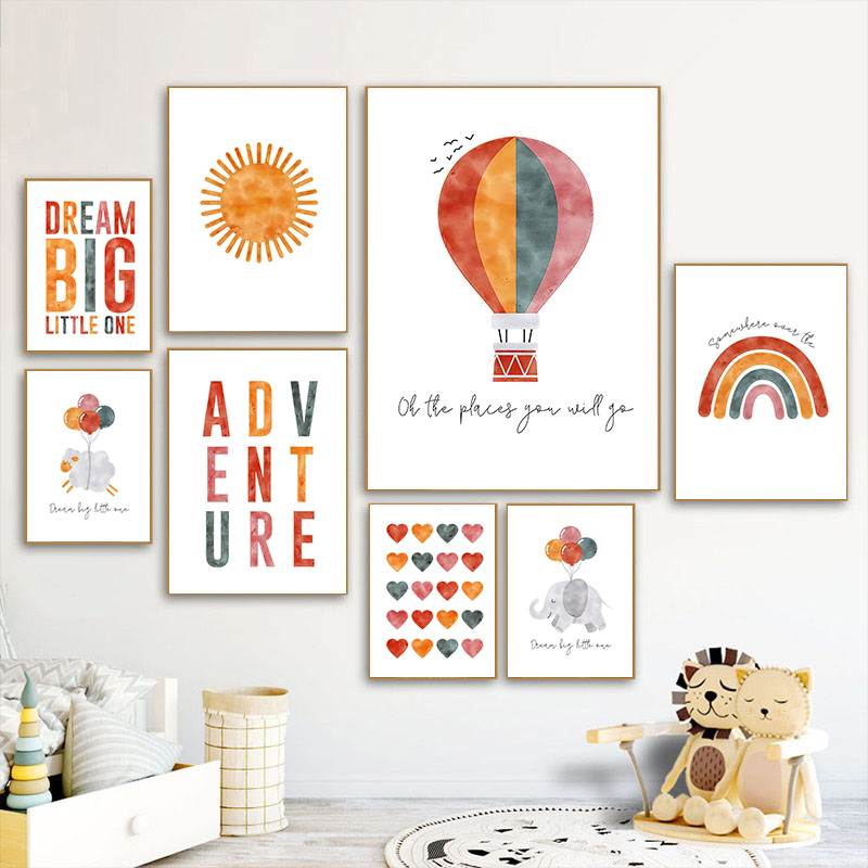 Nordic Cartoon Balloon Wall Art Canvas Painting Sun Rainbow Animal Prints Nursery Quotes Poster Pictures Baby Room Decor