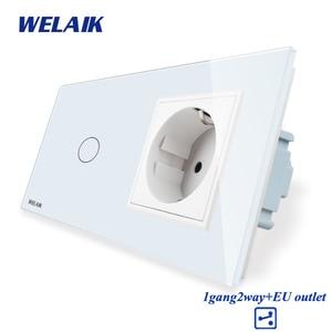 Image 2 - WELAIK 2Frame Crystal Glass Panel Wall Switch EU Touch Switch Screen EU Wall Socket 1gang 2way AC250V A29128ECW/B