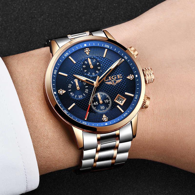 ליגע שעון גברים אופנה ספורט קוורץ מלא פלדת זהב עסקים Mens שעונים למעלה מותג יוקרה עמיד למים שעון Relogio Masculino