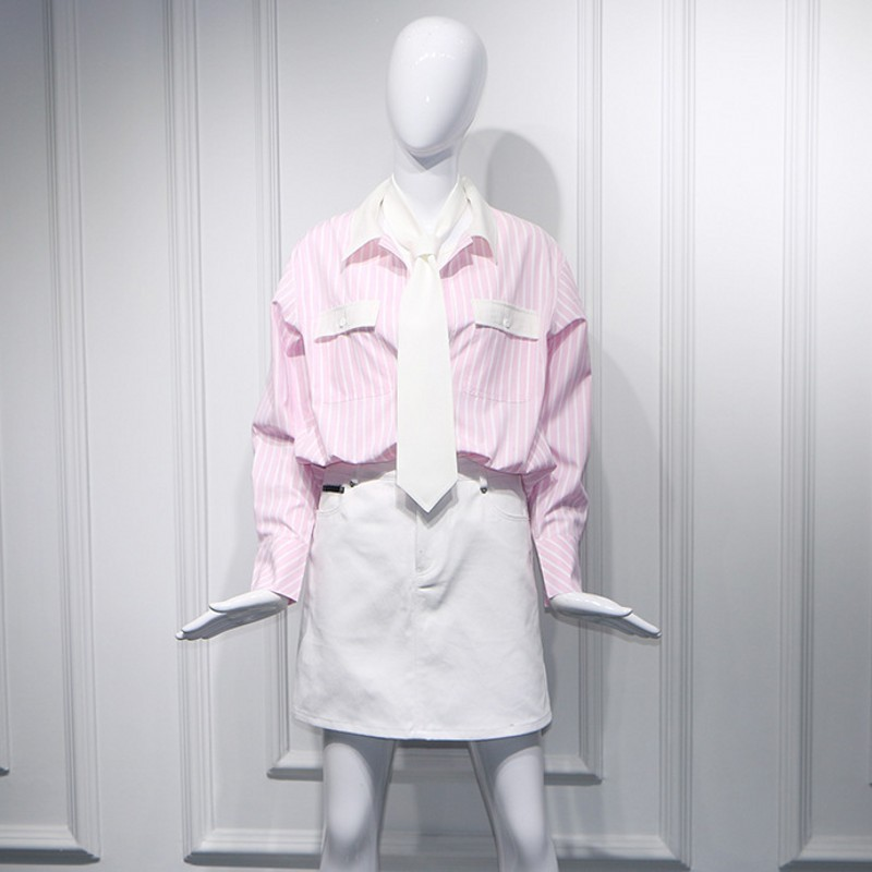 White Tie Long Sleeve Single Breasted Lapel Pockets Striped Shirts A-Line Short Denim Skirts Women Casual 2 Piece Outfits