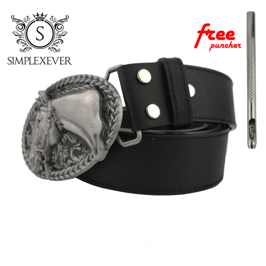 Western Horse Belt Buckle Head With Silver Plating Metal Mens Belt Buckle With Leather Belt As Gifts