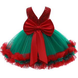 1-5 yrs Toddling girls' Christmas dresses baby girls dress sequins with bow children's clothes 2020 Christmas gift